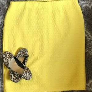 NYC NWOT Yellow Mid Skirt with back Slit